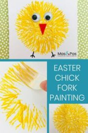 easter chick fork painting