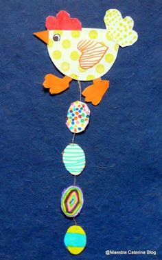 easter chick with 4 eggs hanging