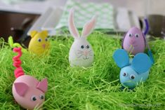 easter egg blown animals