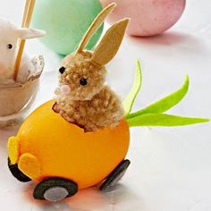 easter egg blown pompom in a car