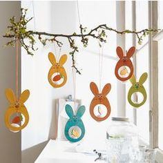 easter mobile branch and rabbits