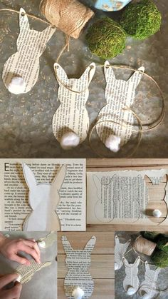 easter newspaper bunnies