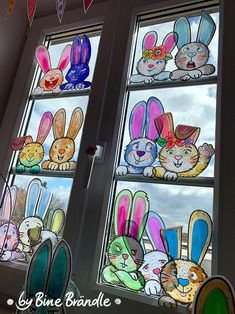 easter rabbits on the window