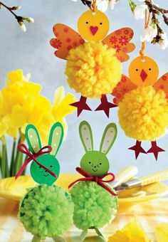 pom pom rabbits and chicks